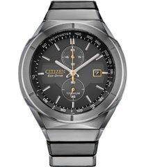 citizen men's chronograph armor eco-drive silver-tone titanium bracelet watch 44mm