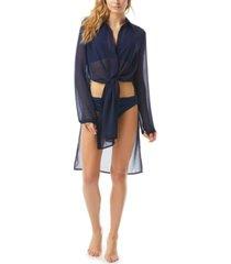 carmen marc valvo tie-front convertible shirt swim cover-up women's swimsuit