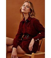 rust corduroy denim shirt dress - rust
