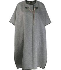 salvatore ferragamo short-sleeved cape coat - grey