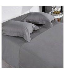 jogo de cama 300 fios casal 100% algodáo penteado toque acetinado grey - tessi