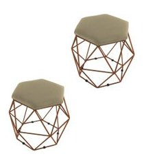 kit 02 puffs aramado bronze assento hexagonal suede nude - ds móveis
