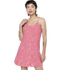vestido corto pabilo flores rosado corona