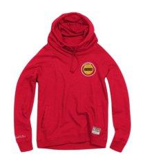 mitchell & ness women's houston rockets funnel neck fleece hoodie
