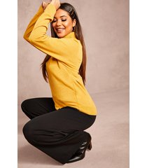 recycled roll neck sweater, mustard