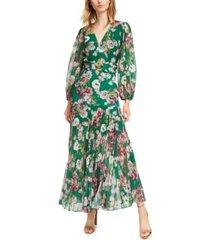 bardot pleated floral-print maxi wrap dress