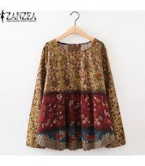 zanzea impresa flor superior o las mujeres de cuello camisa de manga larga de la blusa del remiendo floral vino tinto -rojo