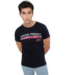 camiseta azul oscuro manpotsherd certified