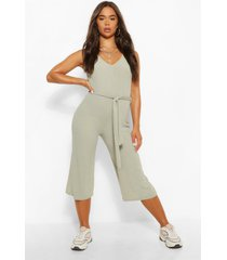 basic ribbed culotte jumpsuit, sage