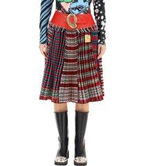 chopova lowena tartan wool midi skirt