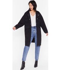 womens champagne oversized parka coat with longline silhouette - black