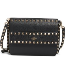 valentino garavani small rockstud calfskin leather shoulder bag - black