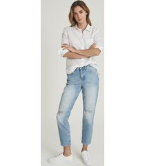 reiss lakely ripped - mid rise slim crop jeans in pale blue, womens, size 32