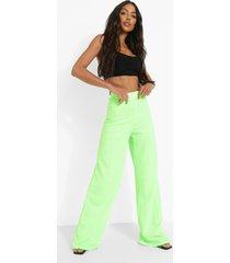 crêpe neon wide leg broek met hoge taille, neon-green