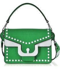 coccinelle designer handbags, ambrine graphic studs color block leather crossbody bag