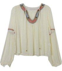 blusa bordado mangas mantequilla jacinta tienda