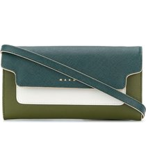 marni two-tone bellows wallet - green