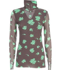 ganni printed mesh high neck l/s sweater