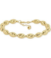 italian gold textured bead link bracelet in 14k gold-plated sterling silver