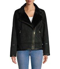 faux shearling asymmetrical moto jacket