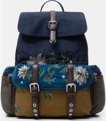 floral embroidery backpack - blue - u
