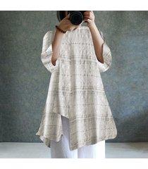 zanzea para mujer cuello redondo de manga larga a cuadros compruebe dobladillo irregular de algodón de lino tapas flojas blusa de la camisa -beige