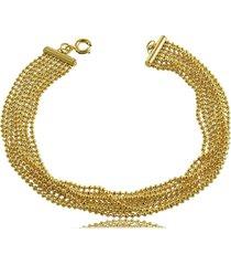 pulseira vários fios com micro bolinhas 3rs semijoias dourado