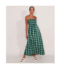 vestido amplo estampado xadrez longo alça fina decote reto verde