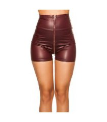 sexy hoge taille wetlook shorts bordeaux