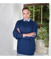 women's 100% soft merino wool denim merino crew neck sweater small