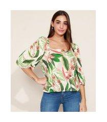 blusa feminina ampla estampada de folhagem manga bufante decote reto off white