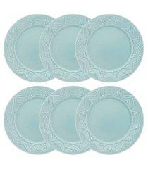 conjunto 6 pratos rasos 26cm cerâmica serena essence oxford azul