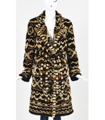 dennis basso brown sheared mink fur belted coat brown/green sz: custom