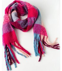 kate plaid blanket scarf - pink
