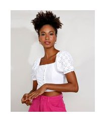 blusa de laise feminina manga bufante cropped decote reto branca