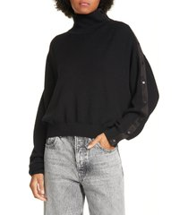 women's alexander wang.t convertible snap turtleneck merino wool sweater, size medium - black