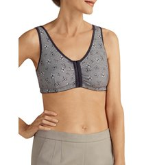 women's amoena frances soft cup cotton leisure bra, size x-large a/b - grey