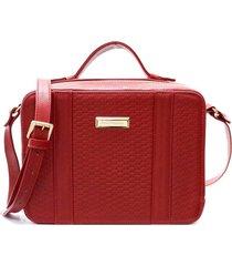 bolsa feminina maria verônica box couro trisse vermelha