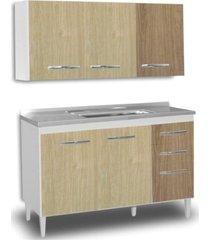 armário aéreo honduras e balcão gabinete de pia suécia 120cm branco/carvalho/castanho lumil móveis
