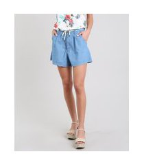 short jeans feminino com cadarço azul claro