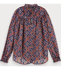 scotch & soda transparante blouse met print