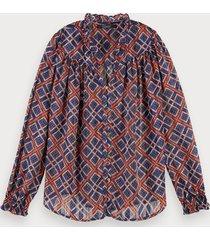 scotch & soda transparante blouse met print