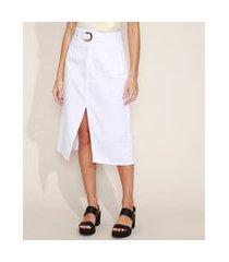 saia de sarja feminina midi com fenda e cinto branca