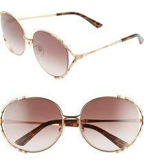 women's gucci 59mm gradient round sunglasses - gold/ brown gradient