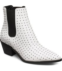 biacyra leather studs boot shoes boots ankle boots ankle boot - heel vit bianco