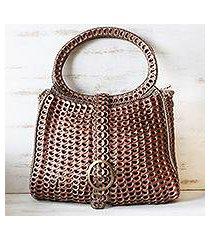 soda pop-top handle handbag, 'coppery color' (brazil)