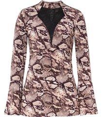maglia a maniche lunghe con inserto a rete (marrone) - bodyflirt boutique