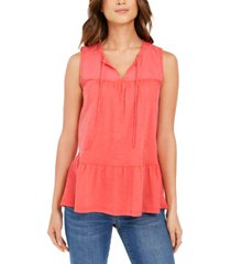 style & co cotton sleeveless peasant top, created for macy's