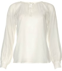 doorzichtige blouse met strik celeste  wit