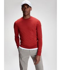 tommy hilfiger men's luxury wool crewneck sweater lava heather - xxl
